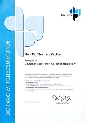 2014-Zertifikat-Parodontologie-Certificato-Parodontologia-Regensburg-Dr-Thomas-Waechter-Zahnarzt-Odontoiatra-Bozen-Bolzano