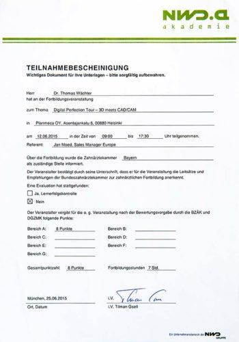 2015-Zertifikat-Digitale-Zahnheilkunde-Certificato-Odontoiatria-Digitale-Helsinki-Dr-Thomas-Waechter-Zahnarzt-Odontoiatra-Bozen-Bolzano