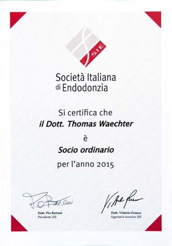 2015 Zertifikat Endodontie Certificato Endodonzia Italien Italia Dr Thomas Waechter Zahnarzt Odontoiatra Bozen Bolzano