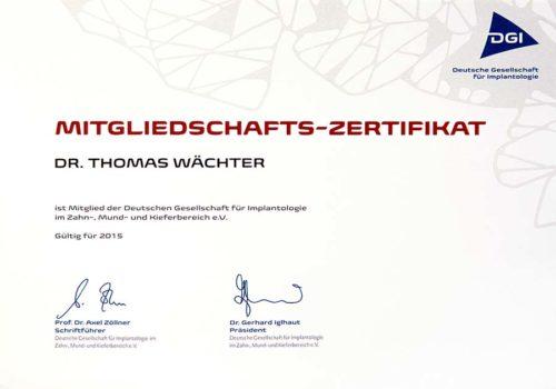 2015 Zertifikat Implantologie Certificato Impiantologia Deutschland Germania Dr Thomas Waechter Zahnarzt Odontoiatra Bozen Bolzano