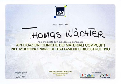 2015-Zertifikat-Konservierende-Zahnheilkunde-Certificato-Odontiatria-Conservativa-Nogaredo-Trento-Dr-Thomas-Waechter-Zahnarzt-Odontoiatra-Bozen-Bolzano