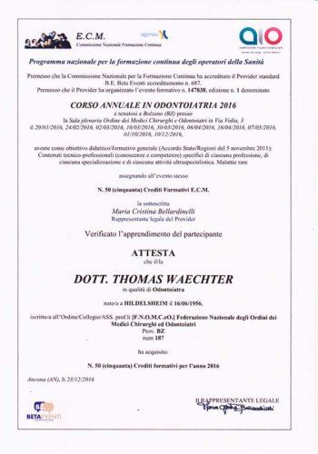 2016-Zertifikat-Allgemeine-Zahnheilkunde-Certificato-Odontoiatria-Generale-Bozen-Bolzano-Dr-Thomas-Waechter-Zahnarzt-Odontoiatra-Bozen-Bolzano