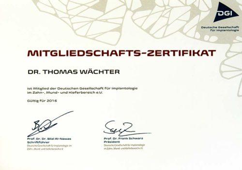 2016 Zertifikat Implantologie Certificato Impiantologia Deutschland Germania Dr Thomas Waechter Zahnarzt Odontoiatra Bozen Bolzano