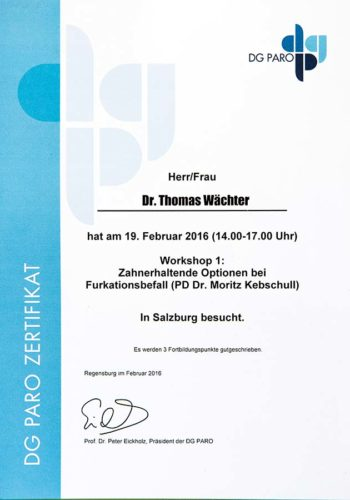 2016 Zertifikat Parodontologie Certificato Parodontologia Salzburg Dr Thomas Waechter Zahnarzt Odontoiatra Bozen Bolzano 1