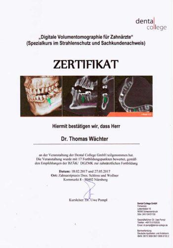 2017 Zertifikat Digitale Zahnheilkunde Certificato Odontoiatria Digitale Nuernberg Dr Thomas Waechter Zahnarzt Odontoiatra Bozen Bolzano
