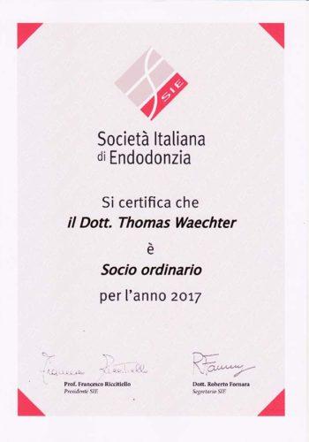 2017 Zertifikat Endodontie Certificato Endodonzia Italien Italia Dr Thomas Waechter Zahnarzt Odontoiatra Bozen Bolzano
