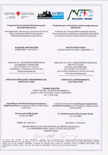 2017-Zertifikat-Funktionelle-Zahnheilkunde-Certificato-Odontoiatria-Funzionale-Bozen-Bolzano-Dr-Thomas-Waechter-Zahnarzt-Odontoiatra-Bozen-Bolzano