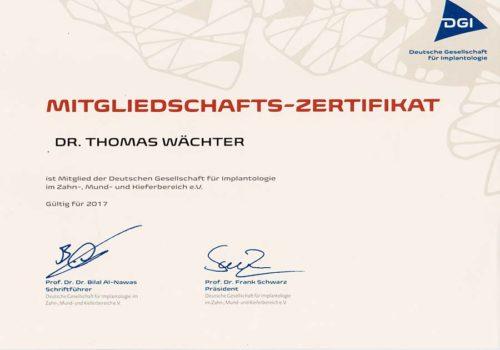 2017 Zertifikat Implantologie Certificato Impiantologia Deutschland Germania Dr Thomas Waechter Zahnarzt Odontoiatra Bozen Bolzano