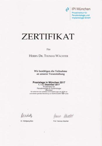 2017-Zertifikat-Implantologie-Certificato-Impiantologia-Muenchen-Dr-Thomas-Waechter-Zahnarzt-Odontoiatra-Bozen-Bolzano