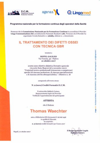 2017 Zertifikat Regenerative Zahnheilkunde Certificato Odontoiatria Rigenerativa Padova Dr Thomas Waechter Zahnarzt Odontoiatra Bozen Bolzano