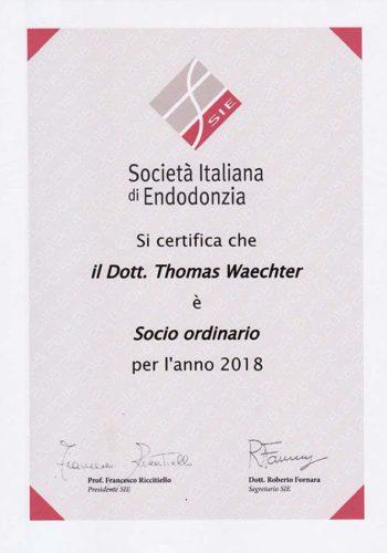 2018 Zertifikat Endodontie Certificato Endodonzia Italien Italia Dr Thomas Waechter Zahnarzt Odontoiatra Bozen Bolzano