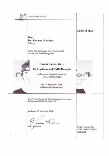 2018-Zertifikat-Funktionelle-Zahnheilkunde-Certificato-Odontoiatria-Funzionale-Ingolstadt-Dr-Thomas-Waechter-Zahnarzt-Odontoiatra-Bozen-Bolzano