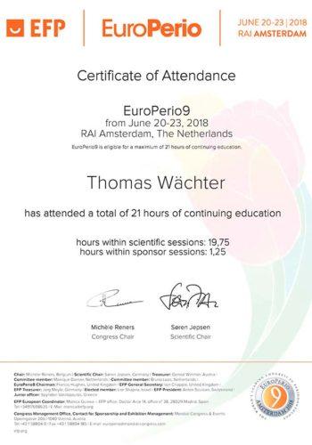 2018 Zertifikat Parodontologie Certificato Parodontologia Amsterdam Dr Thomas Waechter Zahnarzt Odontoiatra Bozen Bolzano