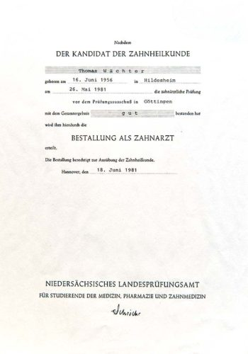 1981 Zertifikat Staatsexamen Certificato Laurea Hannover Dr Thomas Waechter Zahnarzt Odontoiatra Bozen Bolzano