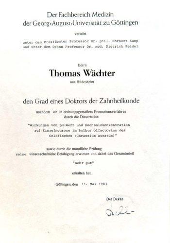 1983 Zertifikat Doktorat Certificato Dottorato Di Ricerca Goettingen Dr Thomas Waechter Zahnarzt Odontoiatra Bozen Bolzano