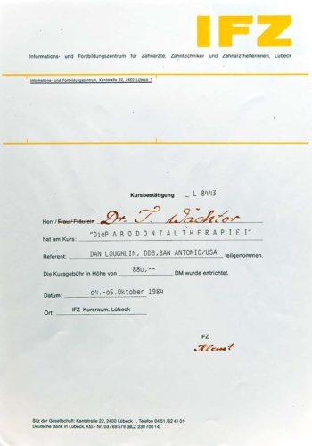 1984 Zertifikat Parodontologie Certificato Parodontologia Luebeck Dr Thomas Waechter Zahnarzt Odontoiatra Bozen Bolzano 1