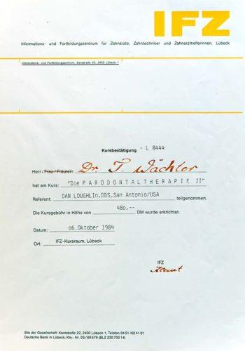 1984-Zertifikat-Parodontologie-Certificato-Parodontologia-Luebeck-Dr-Thomas-Waechter-Zahnarzt-Odontoiatra-Bozen-Bolzano-2