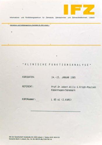 1985-Zertifikat-Funktionelle-Zahnheilkunde-Certificato-Odontoiatria-Funzionale-Luebeck-Dr-Thomas-Waechter-Zahnarzt-Odontoiatra-Bozen-Bolzano