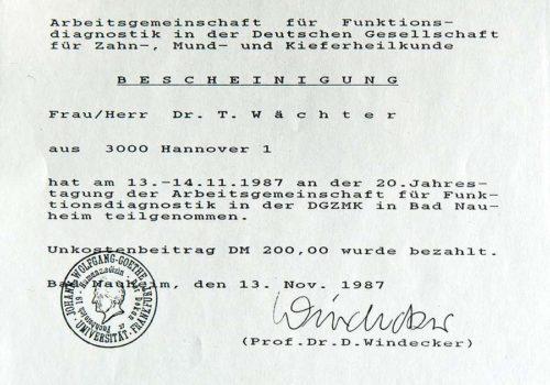 1987-Zertifikat-Funktionelle-Zahnheilkunde-Certificato-Odontoiatria-Funzionale-Bad-Nauheim-Frankfurt-Dr-Thomas-Waechter-Zahnarzt-Odontoiatria-Bozen-Bolzano