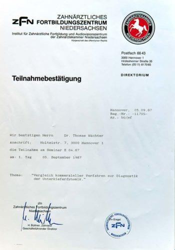 1987 Zertifikat Funktionelle Zahnheilkunde Certificato Odontoiatria Funzionale Hannover Dr Thomas Waechter Zahnarzt Odontoiatra Bozen Bolzano