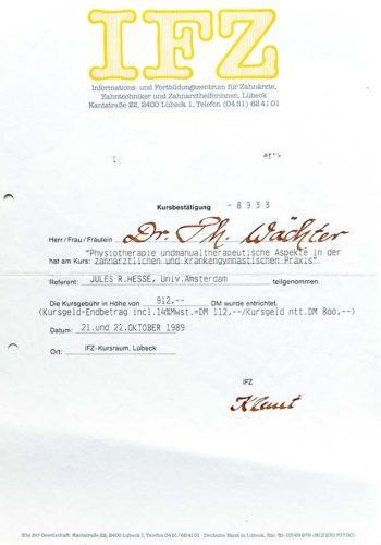 1989-Zertifikat-Funktionelle-Zahnheilkunde-Certificato-Odontoiatria-Funzionale-Luebeck-Dr-Thomas-Waechter-Zahnarzt-Odontoiatra-Bozen-Bolzano