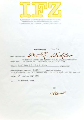1990-Zertifikat-Allgemeine-Zahnheilkunde-Koerpersprache-Certificato-Odontoiatria-Generale-Linguaggio-Del-Corpo-Luebeck-Dr-Thomas-Waechter-Zahnarzt-Odontoiatra-Bozen-Bolzano