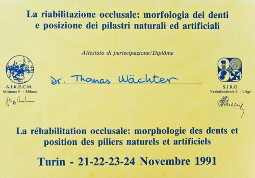 1991 Zertifikat Allgemeine Zahnheilkunde Certificato Odontoiatria Generale Torino Dr Thomas Waechter Bozen Bolzano