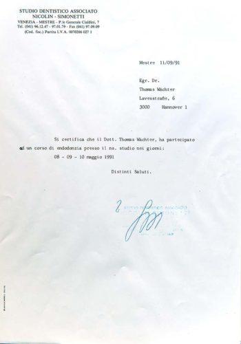 1991 Zertifikat Endodontie Certificato Endodonzia Mestre Venezia Dr Thomas Waechter Zahnarzt Odontoiatra Bozen Bolzano