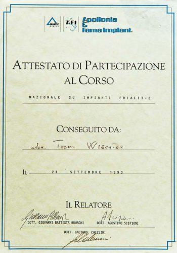 1993 Zertifikat Implantologie Certificato Impiantologia Firenze Dr Thomas Waechter Zahnarzt Odontoiatra Bozen Bolzano