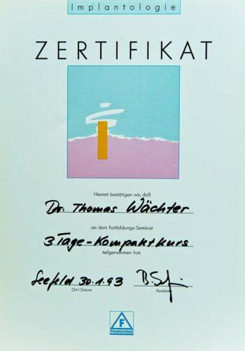 1993 Zertifikat Implantologie Certificato Impiantologia Seefeld Dr Thomas Waechter Zahnarzt Odontoiatra Bozen Bolzano