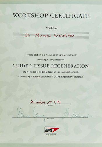 1993-Zertifikat-Regenerative-Zahnheilkunde-Certificato-Odontoiatria-Rigenerativa-Muenchen-Dr-Thomas-Waechter-Zahnarzt-Bozen-Bolzano