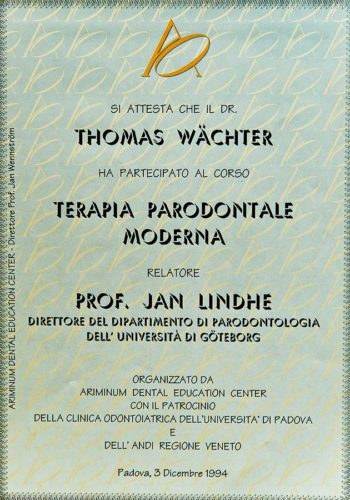 1994-Zertifikat-Parodontologie-Certificato-Parodontologia-Padova-Dr-Thomas-Waechter-Zahnarzt-Odontoiatra-Bozen-Bolzano