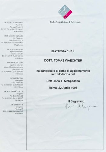 1995 Zertifikat Endodontie Certificato Endodonzia Roma Dr Thomas Waechter Zahnarzt Odontoiatra Bozen Bolzano