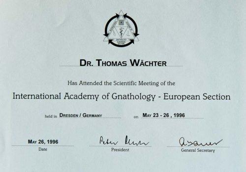 1996-Zertifikat-Funktionelle-Zahnheilkunde-Certificato-Odontoiatria-Funzionale-Dresden-Dr-Thomas-Waechter-Zahnarzt-Odontoiatra-Bozen-Bolzano