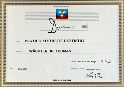 1997 Zertifikat Aesthetische Zahnheilkunde Certificato Odontoiatria Estetica Bozen Bolzano Dr Thomas Waechter Zahnarzt Odontoiatra Bozen Bolzano
