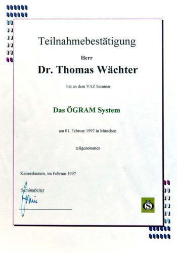 1997 Zertifikat Chirurgie Certificato Chirurgia Muenchen Dr Thomas Waechter Zahnarzt Odontoiatra Bozen Bolzano