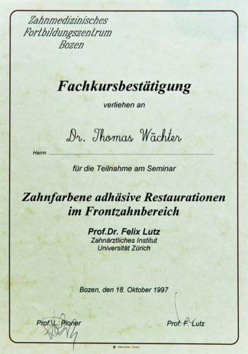 1997-Zertifikat-Konservierende-Zahnheilkunde-Certificato-Odontoiatria-Conservativa-Bozen-Bolzano-Dr-Thomas-Waechter-Zahnarzt-Odontoiatra-Bozen-Bolzano