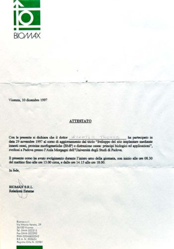 1997-Zertifikat-Regenerative-Zahnheilkunde-Certificato-Odontoiatria-Rigenerativa-Padova-Dr-Thomas-Waechter-Zahnarzt-Odontoiatra-Bozen-Bolzano