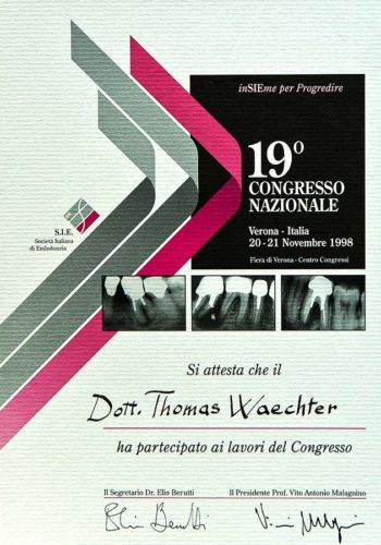 1998-Zertifikat-Endodontie-Certificato-Endodonzia-Verona-Dr-Thomas-Waechter-Zahnarzt-Odontoiatra-Bozen-Bozano