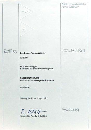1998-Zertifikat-Funktionelle-Zahnheilkunde-Certificato-Odontoiatria-Funzionale-Wuerzburg-Dr-Thomas-Waechter-Zahnarzt-Odontoiatra-Bozen-Bolzano