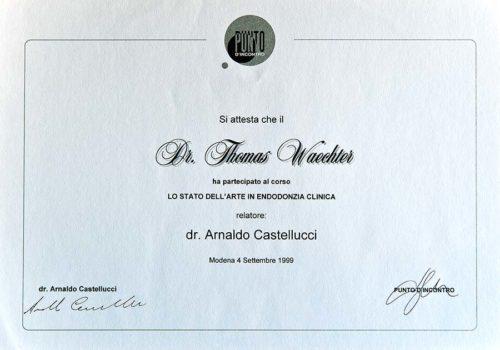 1999-Zertifikat-Endodontie-Certificato-Endodonzia-Modena-Dr-Thomas-Waechter-Zahnarzt-Odontoiatra-Bozen-Bolzano