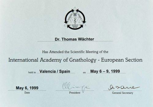 1999 Zertifikat Funtionelle Zahnheilkunde Certificato Odontoiatria Funzionale Valencia Dr Thomas Waechter Zahnarzt Odontoiatra Bozen Bolzano