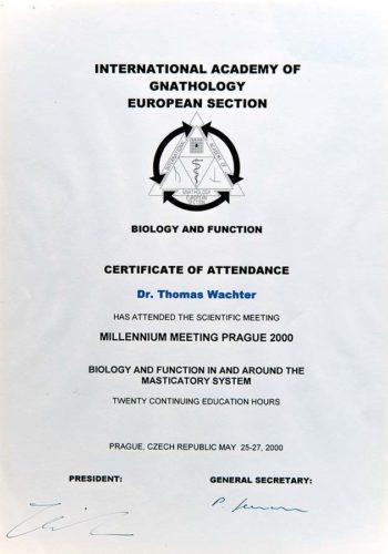 2000 Zertifikat Funktionelle Zahnheilkunde Certificato Odontoiatria Funzionale Prag Dr Thomas Waechter Zahnarzt Odontoiatra Bozen Bolzano