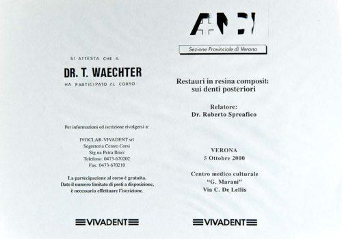 2000-Zertifikat-Konservierende-Zahnheilkunde-Certificato-Odontoiatria-Conservativa-Verona-Dr-Thomas-Waechter-Zahnarzt-Odontoiatra-Bozen-Bolzano