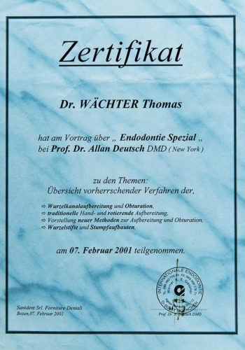 2001 Zertifikat Endodontie Certificato Endodonzia Bozen Bolzano Dr Thomas Waechter Zahnarzt Odontoiatra Bozen Bolzano