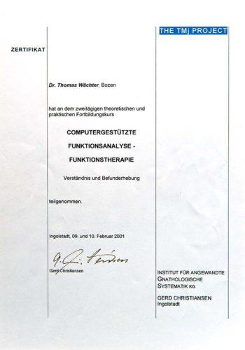 2001-Zertifikat-Funktionelle-Zahnheilkunde-Certificato-Odontoiatria-Funzionale-Ingolstadt-Dr-Thomas-Waechter-Zahnarzt-Odontoiatra-Bozen-Bolzano-2