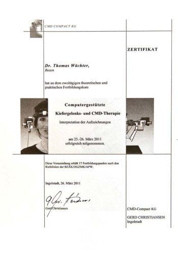 2001-Zertifikat-Funktionelle-Zahnheilkunde-Certificato-Odontoiatria-Funzionale-Ingolstadt-Dr-Thomas-Waechter-Zahnarzt-Odontoiatra-Bozen-Bolzano-cmd