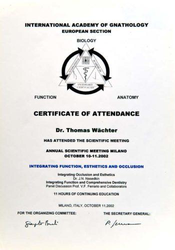 2002-Zertifikat-Funktionelle-Zahnheilkunde-Certificato-Odontoiatria-Funzionale-Milano-Dr-Thomas-Waechter-Zahnarzt-Odontoiatra-Bozen-Bolzano
