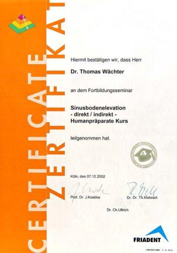 2002 Zertifikat Implantologie Certificato Impiantologia Koeln Dr Thomas Waechter Zahnarzt Odontoiatra Bozen Bolzano