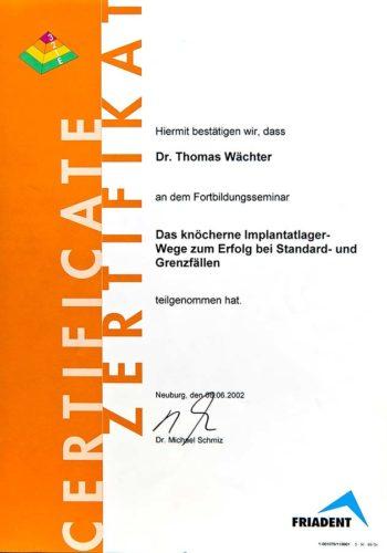 2002-Zertifikat-Implantologie-Certificato-Impiantologia-Neuburg-Dr-Thomas-Waechter-Zahnarzt-Odontoiatra-Bozen-Bolzano
